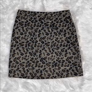 LOFT Animal Leopard Print Wool Mix Mini Skirt